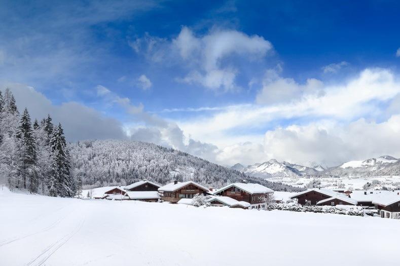 panorama winter landscape reit im winkl, bavaria, alps, chiemgau