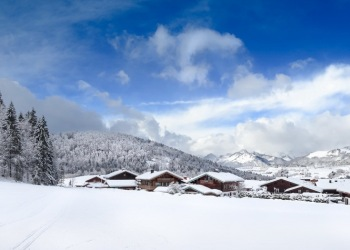 panorama winter landscape reit im winkl, bavaria, alps, chiemgau